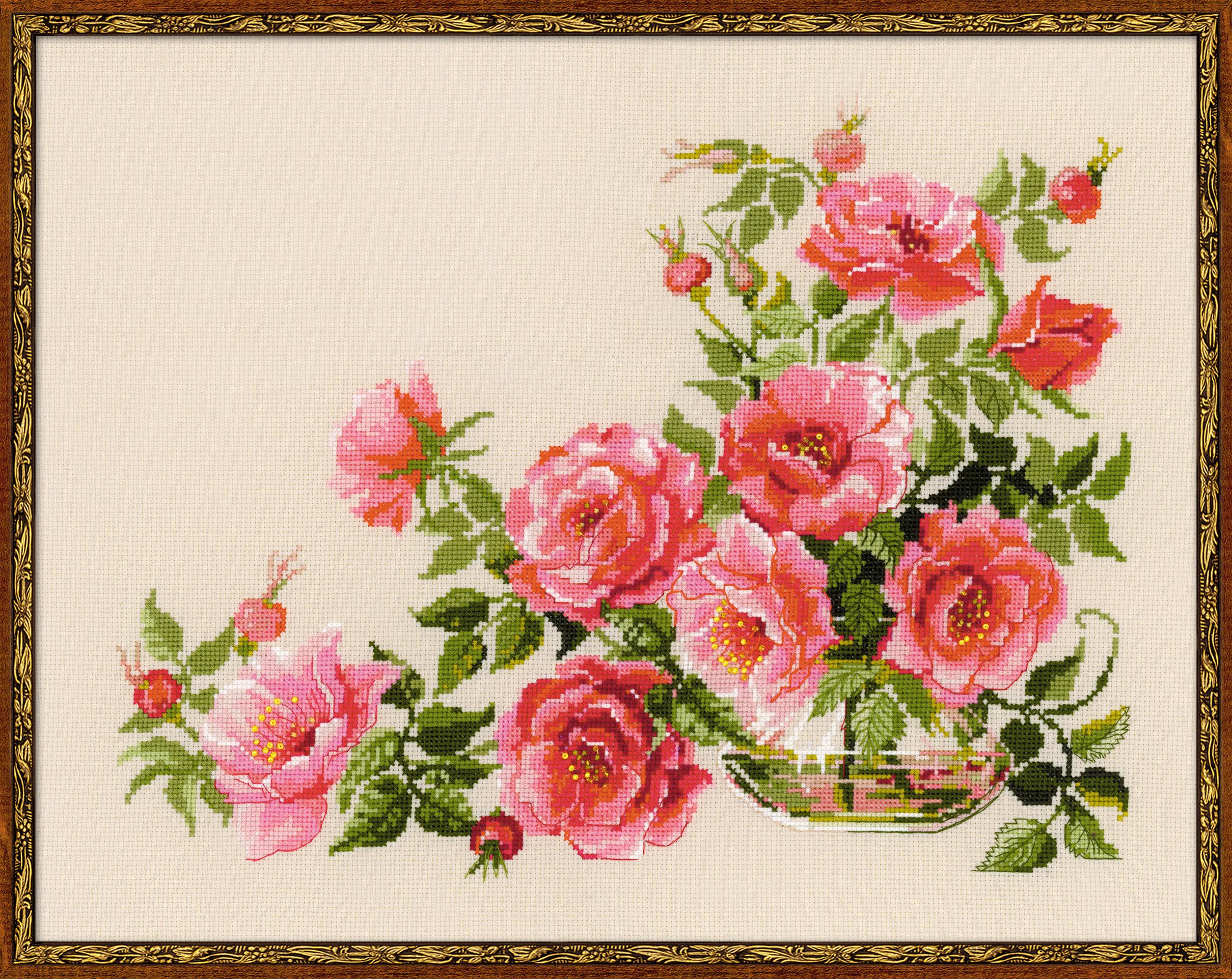 Вышивка цветы большие картины 21